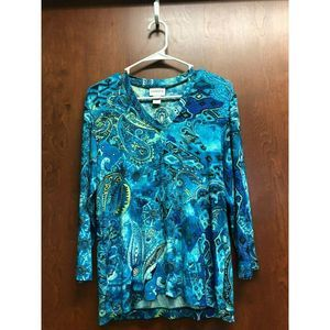 Chicos Travelers Blue Top Size 1  Paisley Yellow